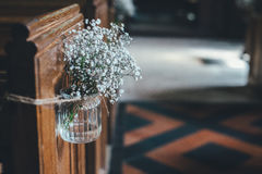 White Petaled Flowers in Glass Vase Royalty Free Stock Images