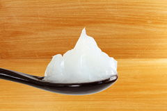 White petroleum jelly in spoon Royalty Free Stock Photo