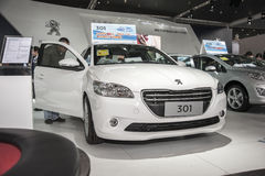 White peugeot 301 car opened door Royalty Free Stock Photography