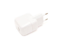 White phone charger. White mobile phone charger isolated on white Stock Images
