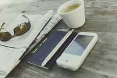 White Phone Near Black Note With Coffee Royalty Free Stock Photo