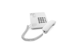 White phone with the taken off tube. Isolated Stock Image
