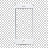White phone template with blank screen. Vector realistic illustration for presentation, design, mobile, web Royalty Free Stock Photos