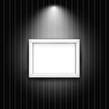 White photo frame on black striped wall. Vector. Background with blank poster Royalty Free Stock Photos