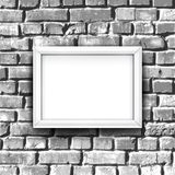 White photo frame on brick wall. Vector background Stock Images