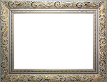White photo frame with gold pattern. On a white background texture Royalty Free Stock Photo