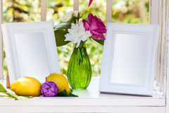 White Photo Frames On The Table For Wedding Decoration Royalty Free Stock Images
