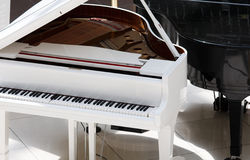 White piano. In the room Royalty Free Stock Photography