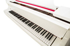 White piano. White grand piano on a white background. play music stock photo