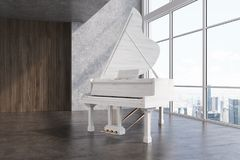 White piano in a large room side. White piano in a concrete and wooden room vector illustration