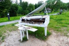 White piano in the street Stock Photos
