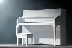 White Piano in the volumetric light. 3d Rendering Stock Photos
