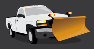 White pick up truck with snow plow Stock Photo