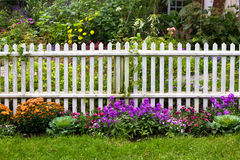 White Picket Fence. With pretty flowers in a yard Royalty Free Stock Images