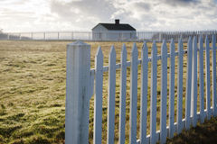 White Picket Fence. American Camp, San Juan Island, Washington. Stock Image