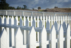 White Picket Fence. American Camp, San Juan Island, Washington. Royalty Free Stock Images