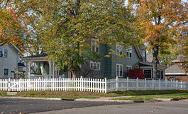 White Picket Fence in Fall Royalty Free Stock Images