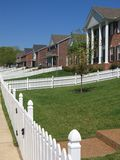 White Picket Fence Forever. Endless row of white picket fence Royalty Free Stock Images