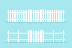 White picket fence with gate Royalty Free Stock Images