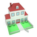 White picket fence house Stock Photography