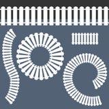 White Picket Fence Icon Set Stock Photos