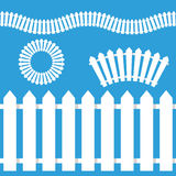 White Picket Fence Icon Set Stock Photo
