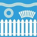White Picket Fence Icon Set Stock Photo