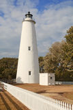 Ocracoke Island lighthouse on the Outer Banks of North Carolina. White picket fence leads past the tower of the Ocracoke Island lighthouse on the outer banks of Royalty Free Stock Images
