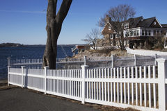 White picket fence in scenic Marblehead, Massachusetts, USA Royalty Free Stock Photos