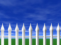White picket fence and sky Stock Photo