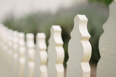 White picket fence, with blurred lavender behind Stock Image
