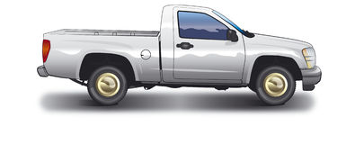 White pickup. Vector illustration of pickup truck - GMC Canyon Stock Photos