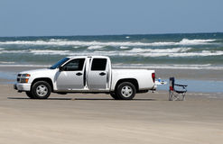 White pickup truck on the beach Royalty Free Stock Photography