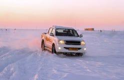 White pickup truck snow Royalty Free Stock Image