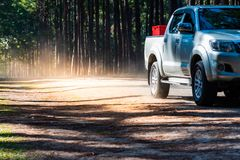 Pickup truck on the road royalty free stock photos