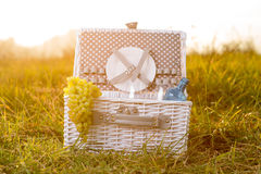 White picnic busket Royalty Free Stock Photos