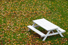 White Picnic Table Stock Photos