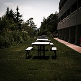 White picnic tables in a line outside royalty free stock images