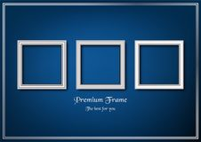 White picture frame on blue gradient background. Royalty Free Stock Images