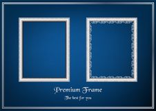 White picture frame on blue gradient background. Stock Photo