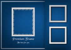 White picture frame on blue gradient background. Stock Photos