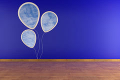 White picture frame on blue wall. White balloon white sky image on blu wall Stock Illustration