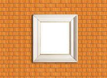 White picture frame on brick wall Stock Photo
