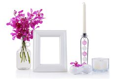 White picture frame in decoration Stock Photos