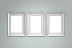 White picture frame on gray wall. Background. 3d rendering Stock Images