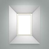 White picture frame on gray wall. Background. 3d rendering Stock Photography