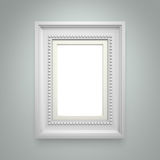 White picture frame on gray wall Stock Photos