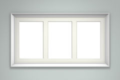 White picture frame on gray wall Stock Image