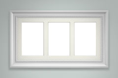 White picture frame on gray wall. Background. 3d rendering Stock Photos