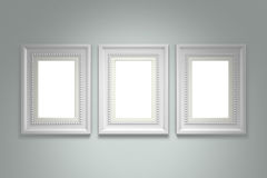 White picture frame on gray wall stock illustration